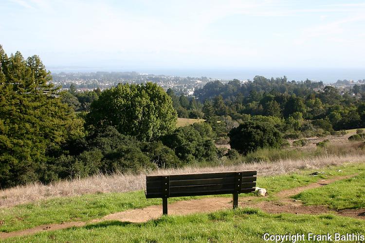 Bench with view of Santa Cruz at UCSC