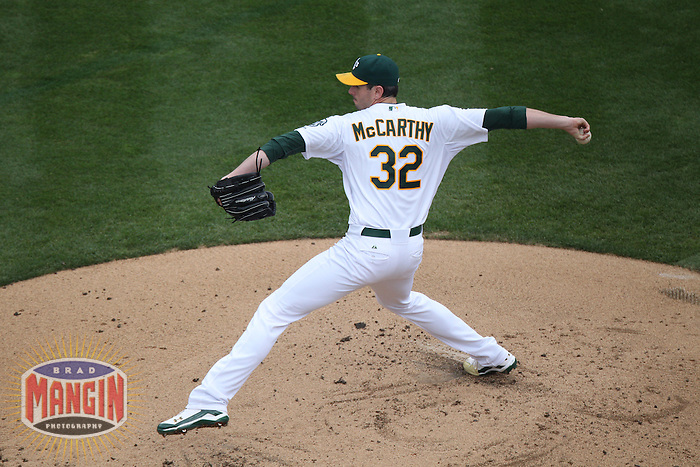 OAKLAND, CA - SEPTEMBER 5:  Brandon McCarthy #32 of the Oakland Athletics pitches against the Los Angeles Angels during the game at O.co Coliseum on Wednesday, September 5, 2012 in Oakland, California. Photo by Brad Mangin