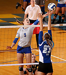 BROOKINGS, SD - SEPTEMBER 1:  Carley Gerving #9 from South Dakota State tips the ball against Katie Allen #23 from Drake in the Jacks home opener Tuesday night at Frost Arena.  (Photo by Dave Eggen/Inertia)