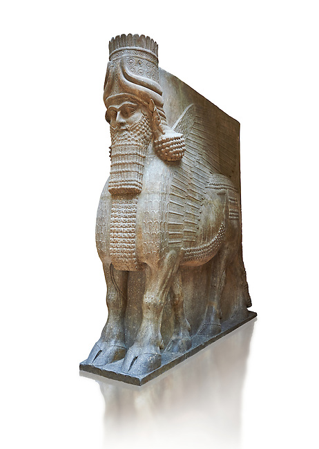 Stone statue of a winged bull. From city gate no 3,  Inv AO 19859 from Dur Sharrukin the palace of Assyrian king Sargon II at Khorsabad, 713-706 BC.  Louvre Museum Room 4 , Paris