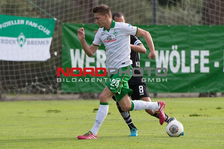 Trainingsgel&auml;nde, Jerez, ESP, 1.FBL, FSP  Werder Bremen (GER)  vs NEC Nijmegen (NED),  12.01.2014, <br /> <br /> Nils Petersen (Bremen #24) <br /> Ryan Koolwijk (NEC #8)<br /> <br /> Foto &copy; nordphoto/ Kokenge