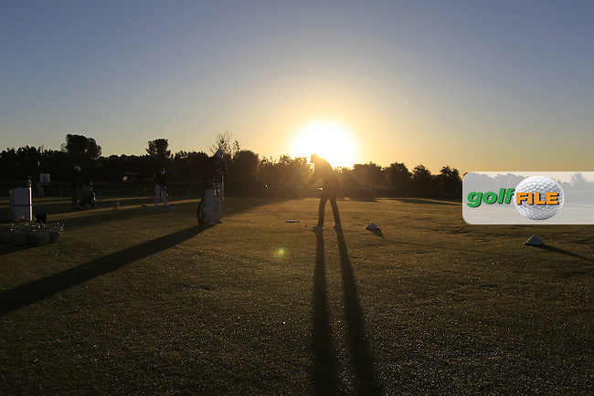 The driving range at Sun-rise during Round 4 of the Open de Espana  in Club de Golf el Prat, Barcelona on Sunday 17th May 2015.<br /> Picture:  Thos Caffrey / www.golffile.ie