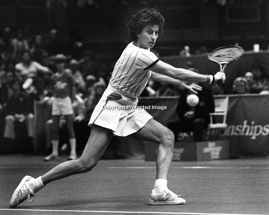 Avon Championship Tennis In Oakland, Virginia Wade returns serve...(1981 photo/Ron Riesterer)