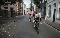 André Greipel (DEU/Lotto-Soudal) & teammates departing for the TTT recon<br /> <br /> 12th Eneco Tour 2016 (UCI World Tour)<br /> stage 5 (TTT) Sittard-Sittard (20.9km) / The Netherlands