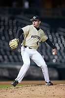 Wake Forest Demon Deacons relief pitcher Jared Shuster (41) in action against the Charlotte 49ers at BB&T BallPark on March 13, 2018 in Charlotte, North Carolina.  The 49ers defeated the Demon Deacons 13-1.  (Brian Westerholt/Four Seam Images)