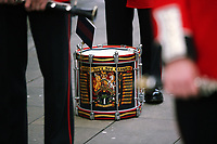 Pictured: The drum played by one of the Welsh Guards parade through Castle Square in Swansea.  Friday 15 September 2017<br />Re: Soldiers from the Welsh Guards have exercised their freedom to march through the streets of Swansea in Wales, UK.<br />The Welsh warriors paraded with bayonets-fixed from the city centre to the Brangwyn Hall, where the Lord Mayor of Swansea took a salute.