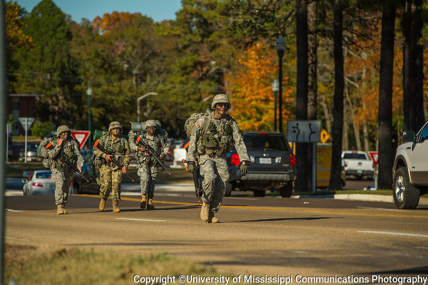Army ROTC ruck march. Photo by Kevin Bain/University Communications Photography