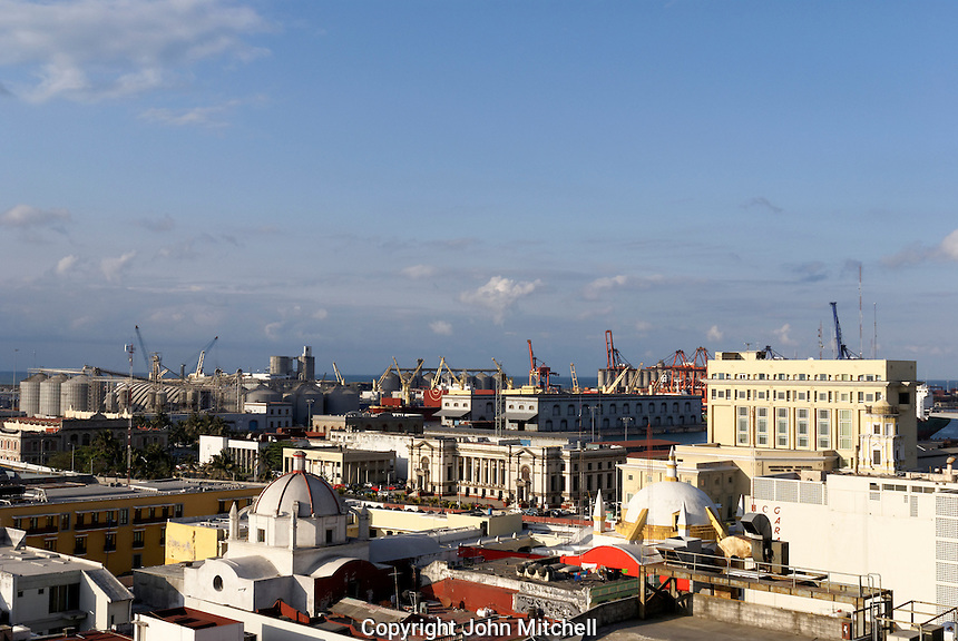 Aerial shot of the old port area of the city of Veracruz, Mexico