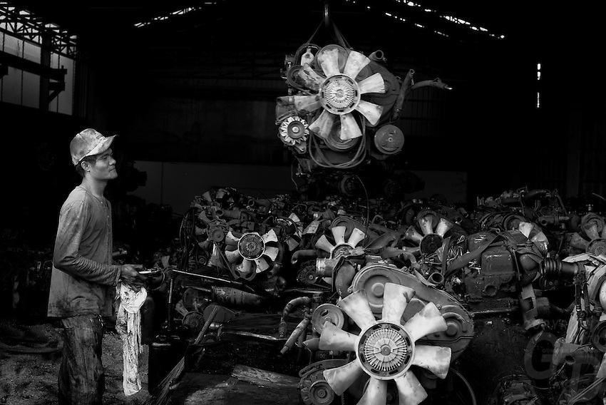 Junk and metal workshops in Phnom Penh, Cambodia
