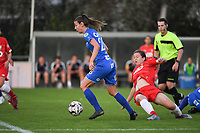 20190823 – OOSTAKKER, BELGIUM : Gent's Nicky Van Den Abbeele (L) and Standard's Sanne Schoenmakers (R)  pictured during a women soccer game between AA Gent Ladies and Standard Femina de Liege on the first matchday of the Belgian Superleague season 2019-2020 , the Belgian women's football  top division , friday 23 th August 2019 at the PGB Stadium Oostakker in Gent  , Belgium  .  PHOTO SPORTPIX.BE | DIRK VUYLSTEKE