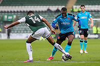 Fleetwood Town's  Amari'i Bell competing with Plymouth Argyle's Jake Jervis<br /> <br /> Photographer Andrew Kearns/CameraSport<br /> <br /> The EFL Sky Bet League One - Plymouth Argyle v Fleetwood Town - Saturday 7th October 2017 - Home Park - Plymouth<br /> <br /> World Copyright &copy; 2017 CameraSport. All rights reserved. 43 Linden Ave. Countesthorpe. Leicester. England. LE8 5PG - Tel: +44 (0) 116 277 4147 - admin@camerasport.com - www.camerasport.com