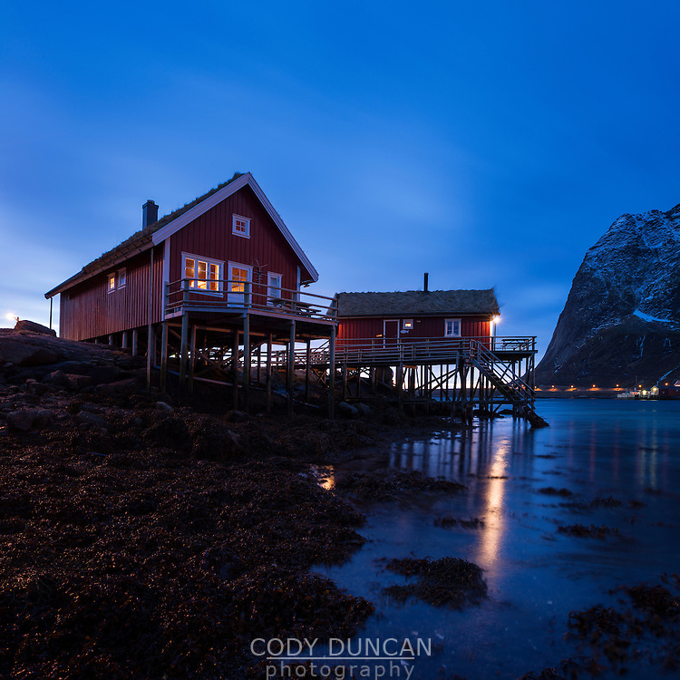 Traditional Norwegian Fishermen's cabins - Rorbu, Valen, Reine, Moskenesøy, Lofoten Islands, Norway