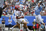 30 MAY 2016: Brian Balkam (30) of the University of North Carolina in goal against Colin Heacock (2) of the University of Maryland during the Division I Men's Lacrosse Championship held at Lincoln Financial Field in Philadelphia, PA. Larry French/NCAA Photos