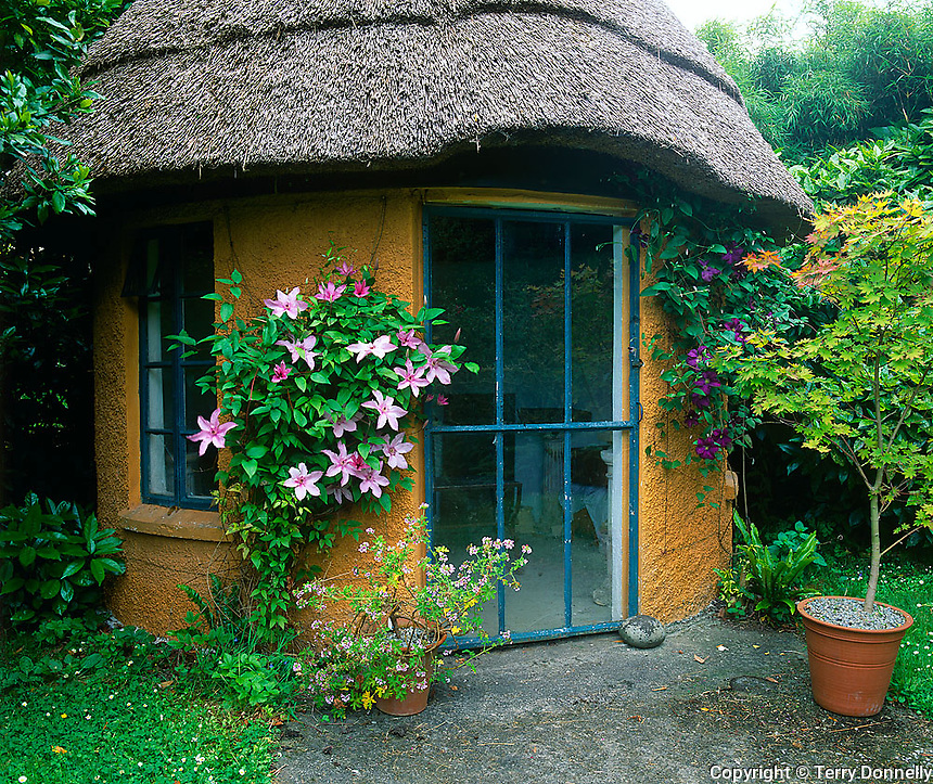 County Cork, Ireland                  <br /> Thatched roof cottage &quot;Baluba Hut&quot; in the Creagh Gardens at Skibberdeen
