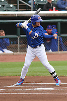 Iowa Cubs shortstop Javier Baez (9) at bat during a Pacific Coast League game against the Colorado Springs Sky Sox on May 11th, 2015 at Principal Park in Des Moines, Iowa.  Colorado Springs defeated Iowa 13-7.  (Brad Krause/Four Seam Images)