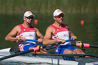 Lucerne, SWITZERLAND, 13th July 2018, Friday CRO M2-, Bow Martin SINKOVIC and Valent SINKOVIC in the start Area, before their heat at the FISA World Cup series, No.3, Lake Rotsee, Lucerne, © Peter SPURRIER,
