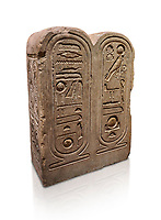 """Ancient Egyptian architectonic element of the temple of Aten, Karnak, limestone, New Kingdom 18th Dynasty (1353-1336 BC). Egyptian Museum, Turin. white background.<br /> <br /> This crystaline block from the riugn of Amenhoptep IV was part of the railing of the temple of Aten in Karnak. It is os a double form cartouche, which usually enclose the name of the king. Here insted, it contains the names of the sun disk Aten, the one god of King Akhenaten : """"Ra-Harakhty rising in the Horizon"""" """"in the name as the light which is in Aten"""". The name of the king is carved on the sides. The objects is therefore a links god with the pharoah. Drovetti collection Cat 1378"""