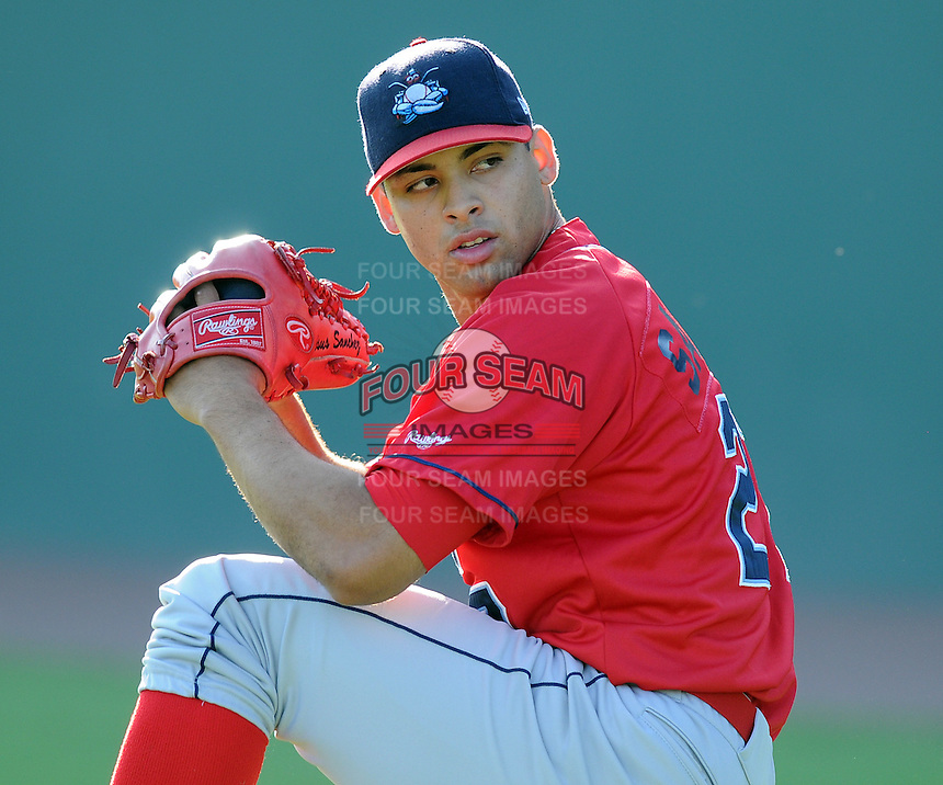 July 29, 2009: RHP Jesus Sanchez (27) of the Lakewood BlueClaws, Class A affiliate of the Philadelphia Phillies, prior to a game at Fluor Field at the West End in Greenville, S.C. Photo by: Tom Priddy/Four Seam Images