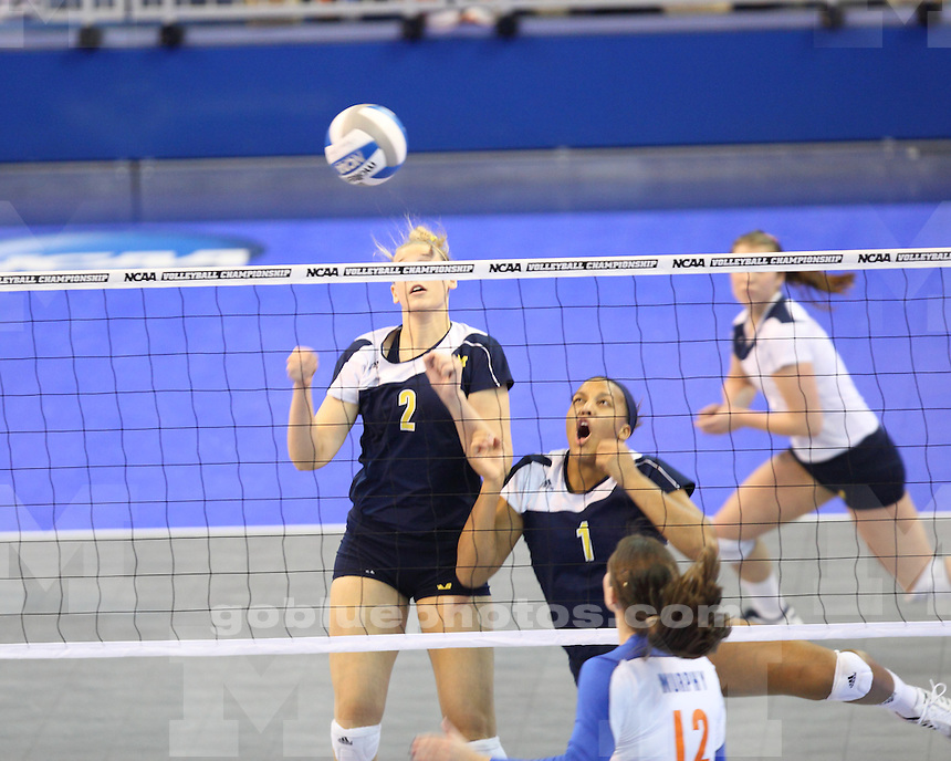 The University of Michigan women's volleyball team fell 3-0 to the University of Florida in the Sweet 16 round of the 2011 NCAA Tournament in Gainesville, Fla., on December 9, 2011.