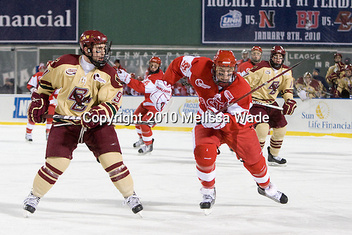 Barry Almeida (BC - 9), Vinny Saponari (BU - 27) - The Boston University Terriers defeated the Boston College Eagles 3-2 on Friday, January 8, 2010, at Fenway Park in Boston, Massachusetts, as part of the Sun Life Frozen Fenway doubleheader.