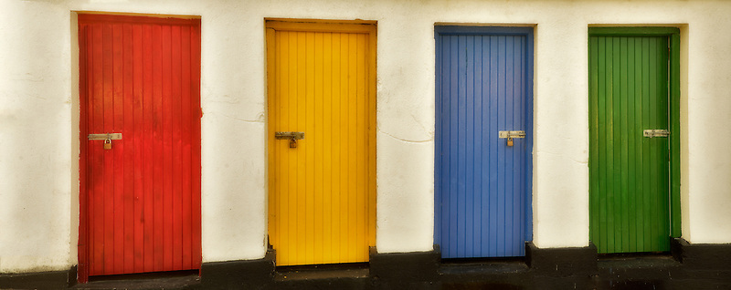 Colored doors. Inishfree Pier, Ennicrone,Ireland