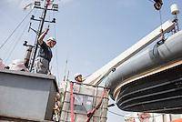 Sea Watch-2.<br /> Die Crew bereitet das Schiff auf die 13. SAR-Mission vor.<br /> 16.10.2016, Valetta<br /> Copyright: Christian-Ditsch.de<br /> [Inhaltsveraendernde Manipulation des Fotos nur nach ausdruecklicher Genehmigung des Fotografen. Vereinbarungen ueber Abtretung von Persoenlichkeitsrechten/Model Release der abgebildeten Person/Personen liegen nicht vor. NO MODEL RELEASE! Nur fuer Redaktionelle Zwecke. Don't publish without copyright Christian-Ditsch.de, Veroeffentlichung nur mit Fotografennennung, sowie gegen Honorar, MwSt. und Beleg. Konto: I N G - D i B a, IBAN DE58500105175400192269, BIC INGDDEFFXXX, Kontakt: post@christian-ditsch.de<br /> Bei der Bearbeitung der Dateiinformationen darf die Urheberkennzeichnung in den EXIF- und  IPTC-Daten nicht entfernt werden, diese sind in digitalen Medien nach §95c UrhG rechtlich geschuetzt. Der Urhebervermerk wird gemaess §13 UrhG verlangt.]