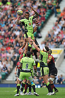 Courtney Lawes rises high to win lineout ball. Aviva Premiership Final, between Saracens and Northampton Saints on May 31, 2014 at Twickenham Stadium in London, England. Photo by: Patrick Khachfe / JMP