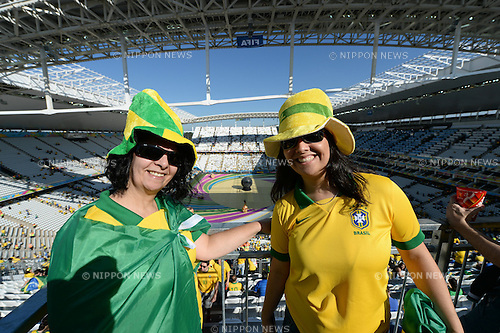 Brazil fans (BRA),<br /> JUNE 12, 2014 - Football / Soccer :<br /> FIFA World Cup Brazil 2014 Group A match between Brazil 3-1 Croatia at Arena de Sao Paulo in Sao Paulo, Brazil. (Photo by FAR EAST PRESS/AFLO)