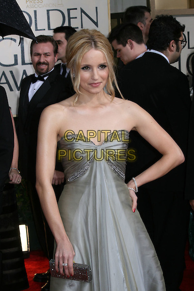 DIANNA AGRON.Arrivals at the 67th Golden Globe Awards, he Beverly Hilton Hotel,  Beverly Hills, California, USA..January 17th, 2010.globes half length grey gray silver strapless dress hand on hip clutch bag.CAP/AW/MAZ.©Maz/Weber/Capital Pictures.