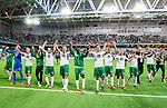 ***BETALBILD***  <br /> Stockholm 2015-07-13 Fotboll Allsvenskan Hammarby IF - Falkenbergs FF :  <br /> Hammarbys spelare jublar framf&ouml;r Hammarbys supportrar efter matchen mellan Hammarby IF och Falkenbergs FF <br /> (Foto: Kenta J&ouml;nsson) Nyckelord:  Fotboll Allsvenskan Tele2 Arena Hammarby HIF Bajen Falkenberg FFF jubel gl&auml;dje lycka glad happy supporter fans publik supporters inomhus interi&ouml;r interior