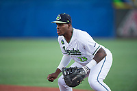 Hillsboro Hops first baseman Francis Martinez (23) during a Northwest League game against the Salem-Keizer Volcanoes at Ron Tonkin Field on September 1, 2018 in Hillsboro, Oregon. The Salem-Keizer Volcanoes defeated the Hillsboro Hops by a score of 3-1. (Zachary Lucy/Four Seam Images)