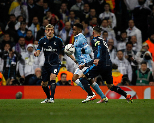26.04.2016. The Etihad, Manchester, England. UEFA Champions League. Manchester City versus Real Madrid. Late substitute Manchester City striker Raheem Sterling chests the ball down as Real Madrid defender Sergio Ramos and Real Madrid midfielder Toni Kroos close him down.
