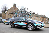 PICTURE BY VAUGHN RIDLEY/SWPIX.COM - Cycling - 2013 Premier Calander Road Race Series - Tour of the Reservoir, Stage 2 - Blanchland, Northumberland, England - 28/04/13 - Race Convoy leaves Blanchland at the start of the race. Madison Genesis.