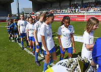 20190422 - Denderleeuw , BELGIUM : Genk players pictured during the Under 13 final of Belgian cup 2019 , a soccer women game between KRC Genk Ladies and The West Flames Club Brugge  , in the  Van Roystadion in Denderleeuw , Monday 22 th April 2019 . PHOTO SPORTPIX.BE | DAVID CATRY