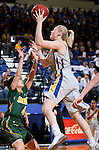BROOKINGS, SD - JANUARY 31:  Mariah Clarin #40 from South Dakota State University takes the ball to the basket against Brooke LeMar #4 from North Dakota State University in the first half of their game Saturday afternoon at Frost Arena in Brookings. (Photo by Dave Eggen/Inertia)