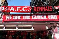 Arsenal v Rennes scarves and other merchandise for sale on the market stalls outside 'The Emirates' during Arsenal vs Rennes, UEFA Europa League Football at the Emirates Stadium on 14th March 2019