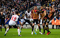 Bradford City's Tyler French (right) clears under pressure from Bolton Wanderers' Eddie Brown<br /> <br /> Photographer Andrew Kearns/CameraSport<br /> <br /> EFL Leasing.com Trophy - Northern Section - Group F - Bolton Wanderers v Bradford City -  Tuesday 3rd September 2019 - University of Bolton Stadium - Bolton<br />  <br /> World Copyright © 2018 CameraSport. All rights reserved. 43 Linden Ave. Countesthorpe. Leicester. England. LE8 5PG - Tel: +44 (0) 116 277 4147 - admin@camerasport.com - www.camerasport.com