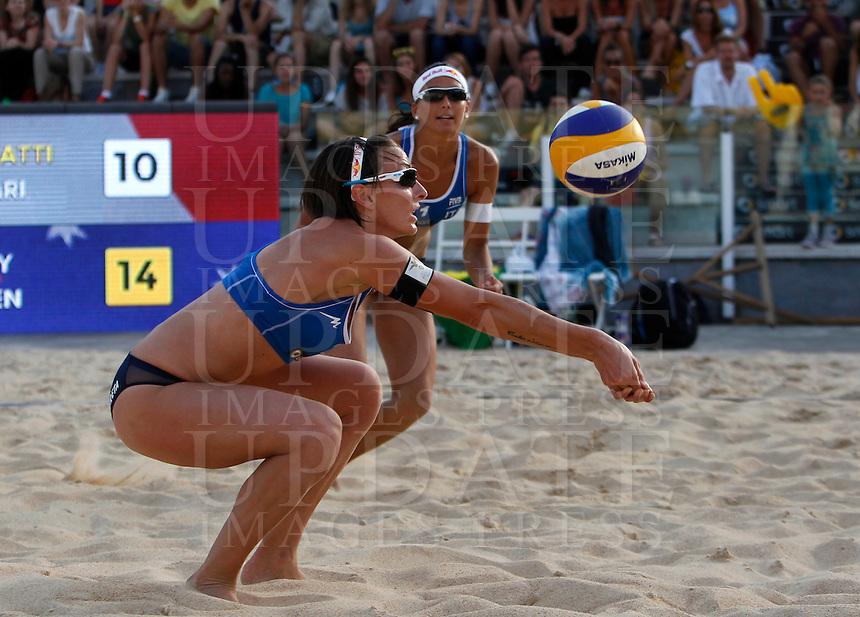 Italy's Greta Cicolari and Marta Menegatti, background, in action at the Beach Volleyball World Tour Grand Slam, Foro Italico, Rome, 21 June 2013.<br /> UPDATE IMAGES PRESS/Isabella Bonotto