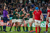 27th October 2019, Oita, Japan;  Faf de Klerk of South Africa is congratulated by teammates during the 2019 Rugby World Cup semi-final match between Wales and South Africa at International Stadium Yokohama in Kanagawa, Japan on October 27, 2019.  - Editorial Use