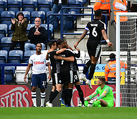 Reading's Tiago Ilori, third in from right, celebrates scoring his side's second goal with team-mates<br /> <br /> Photographer Chris Vaughan/CameraSport<br /> <br /> The EFL Sky Bet Championship - Preston North End v Reading - Saturday 15th September 2018 - Deepdale - Preston<br /> <br /> World Copyright &copy; 2018 CameraSport. All rights reserved. 43 Linden Ave. Countesthorpe. Leicester. England. LE8 5PG - Tel: +44 (0) 116 277 4147 - admin@camerasport.com - www.camerasport.com