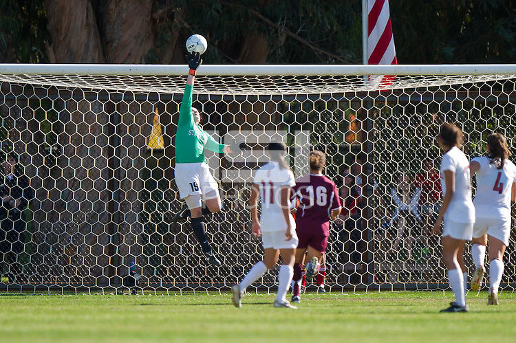 STANFORD, CA - November 14, 2010: Emily Oliver makes a save during a second-round NCAA soccer match against Santa Clara in Stanford, California.  Stanford won 2-1.