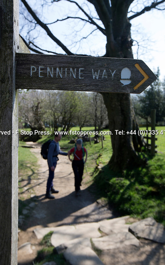 21/04/15<br /> <br /> On the week of the fiftieth anniversary of The Pennine Way, the sun beats down on hikers near the start of Britain's first national walking trail near Edale, in the Derbyshire Peak District. <br /> <br /> All Rights Reserved - F Stop Press.  www.fstoppress.com. Tel: +44 (0)1335 418629 +44(0)7765 242650