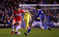 Geroge Friend of Middlesbrough in action with Jota of Birmingham during the Sky Bet Championship match between Birmingham City and Middlesbrough at St Andrews, Birmingham, England on 6 March 2018. Photo by Bradley Collyer / PRiME Media Images.