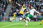 Stockholm 2014-08-24 Fotboll Superettan Hammarby IF - Ljungskile SK :  <br /> Hammarbys Pablo Pinones-Arce med ett avslut mot m&aring;l i kamp om bollen med Ljungskiles Marcus Gustafsson <br /> (Foto: Kenta J&ouml;nsson) Nyckelord:  Superettan Tele2 Arena Hammarby HIF Bajen Ljungskile LSK