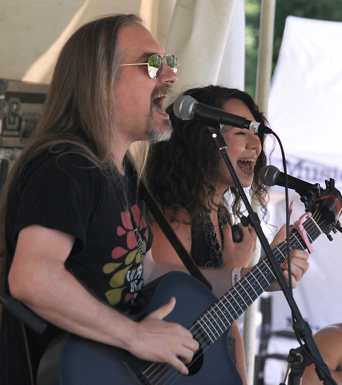 Rob Hinkal and Heather Aubrey Lloyd, of, the  ilyAIMY Band, performing on the Workshop Stage of the Falcon Ridge Folk Festival, held on Dodd's Farm in Hillsdale, NY on Sunday, August 2, 2015. Photo by Jim Peppler. Copyright Jim Peppler 2015.