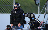 Nov. 9, 2012; Pomona, CA, USA: NHRA top fuel dragster driver Chris Karamesines during qualifying for the Auto Club Finals at at Auto Club Raceway at Pomona. Mandatory Credit: Mark J. Rebilas-