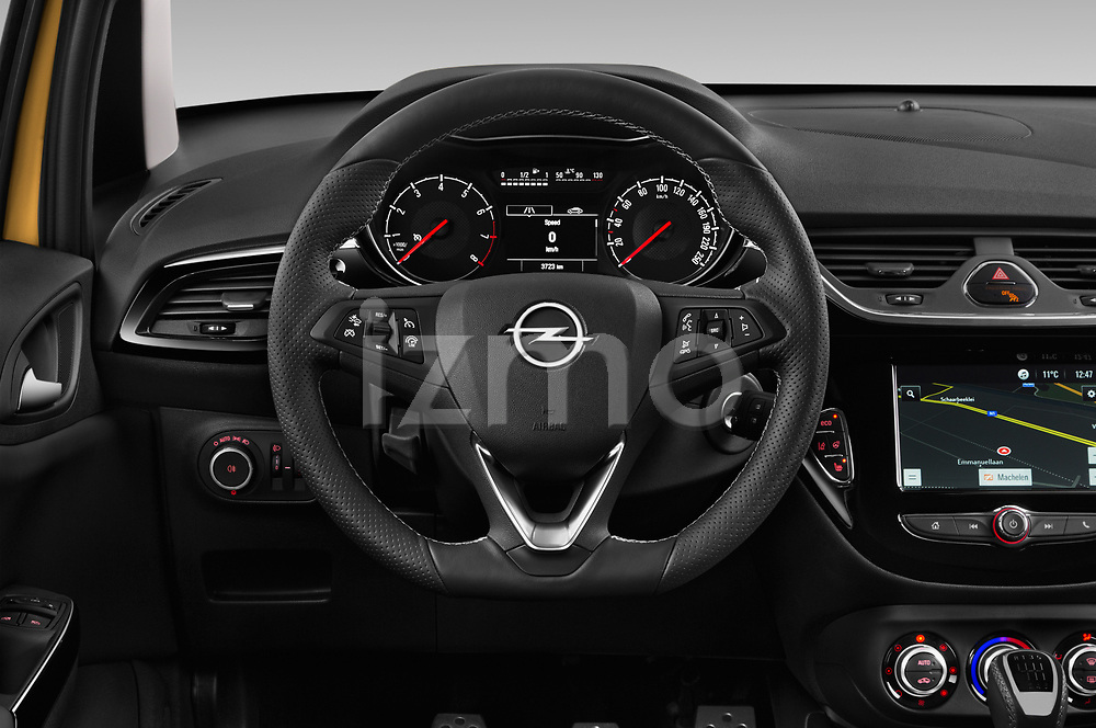 Car pictures of steering wheel view of a 2019 Opel Corsa GSI 3 Door Hatchback Steering Wheel