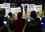 MIAMI GARDENS, FL - OCTORBER 23: Former U.S. President Bill Clinton shaking hands with pastor Wayne Lomax during church service at The Fountain of New Life Church on Sunday October 23, 2016 in Miami Gardens, Florida.  ( Photo by Johnny Louis / jlnphotography.com )