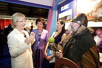 NO FEE PICTURES.28/1/11 Minister Mary Hanafin with Maureen Ledwith, Travel World Show, Rose of Tralee, Claire Kambamettu and Brian Baru Frankie O'Gorman at the launch of the Holiday World Show at the RDS, Dublin, which runs from Friday 28th untill Sunday 30th January. Picture: Arthur Carron/Collins