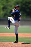 Atlanta Braves pitcher Andrew Waszak (18) during a minor league spring training game against the Houston Astros on March 29, 2015 at the Osceola County Stadium Complex in Kissimmee, Florida.  (Mike Janes/Four Seam Images)